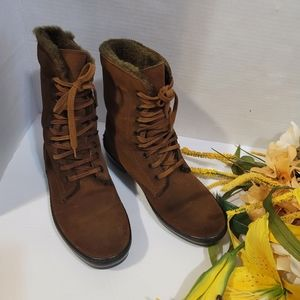 Tod's Brown Lace Up Water Proof Suede Ankle Boots